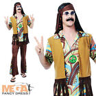 60s Cool Hippie Guy Adults Fancy Dress 1960s Mens 70s Retro Costume 1970s Outfit