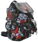 Womens Girls Skulls Roses Canvas Oilcloth School College Backpack Rucksack New