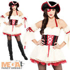 Pirate Ship Mate + Hat Ladies Fancy Dress Caribbean Womens Adult Costume Outfit