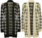 New Womens Peace Sign Pattern Long Sleeve Open Ladies Knitted Cardigan Top 8-14