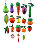 2pc Multi-Color Shape & Size Honeycomb Fruit & Veggies Tissue Decorations Choose