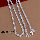 """925 Sterling Silver Flash Wrested Rope Chains Necklace 4MM 16""""-24"""""""