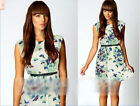 Women Retro Floral Butterfly Print Party Cute Summer Skater Swing Mini Dress