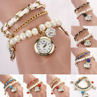 Women Anchor Leather Faux Pearl Rhinestone Analog Quartz Bracelet Wrist Watch