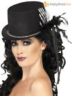 Ladies Black Skeleton Top Hat Halloween Fancy Dress Costume Accessory Womens