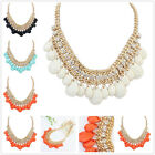 Fashion Women Alloy Teardrop Charm Rhinestone Statement Cluster Necklace Jewelry