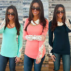 Sexy Womens Long Sleeve Lace Tops O Neck Summer Casual Shirt Tops Blouse Hot