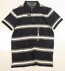 Tommy Hilfiger Mens Custom Fit Navy Blue With White Striped Polo Shirt Size L
