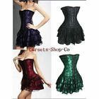 Sexy Lingerie Lace up Boned Basque Lace Overlay Corset MINI Skirt Dress S-2XL