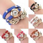 Geneva Womens Angel Wing Pendant Faux Leather Band Analog Quartz Wrist Watch
