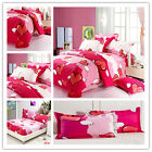 Hearts Quilt Duvet Doona Cover Set Queen King Size Bed Covers 100%Cotton Pink