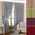 Riva Home Willow Lined Ready Made Pencil Pleat Curtains With Tiebacks