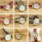 Womens Thread Braided Weaved Floral Flower Wrist Watch Bracelet Ladies Gift