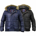 Mens Jacket Crosshatch Coat Hooded Padded Quilted Bubble Puffer Faux Fur Winter