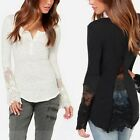 Women Autumn Long Sleeve Causal Slim Embroidery Lace Crochet Tee Tops Blouse