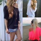 Sexy Women Chiffon OFF-Shoulder Long Sleeve Casual T-Shirt Loose Tops Blouse Hot