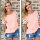 Women Summer Shirt Lace Short Sleeve Blouse Casual Tank Tops T-Shirt S M L XL