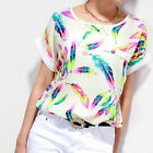 Summer Blouse Women Feathers Chiffon Top Casual Short Sleeve Loose T-Shirt NEW
