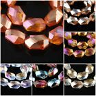 10Pcs Charms Oval Hexagon Faceted Crystal BeadsNecklace Spacer 18x12mm Beads