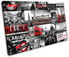 London Collage Red  City CANVAS WALL ART Picture Print VA