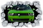 Huge 3D Dodge Challenger Crashing through wall View Sticker Mural Decal 89