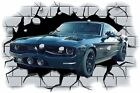 Huge 3D Mustang 770 Muscle Crashing through wall View Sticker Mural Decal 92