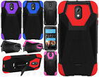 For HTC Desire 526 Turbo Layer HYBRID KICKSTAND Rubber Case Cover + Screen Guard