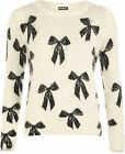 New Womens Fluffy Bow Print Long Sleeve Knitted Top Sweater Ladies Jumper 8-18