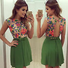 Womens Summer Floral Mini Short Dress Casual Party Evening Mesh Pleated Sundress