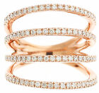 14k Rose Gold Round Cut Diamonds Band Anniversary Prong Set Split band 0.50ctw