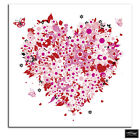 Floral Heart Pink Love BOX FRAMED CANVAS ART Picture HDR 280gsm