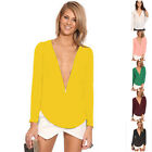 Sexy Women Chiffon V-neck Tops Tee Long Sleeve Shirt Casual Blouse Loose T-shirt
