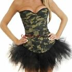 Quality Army Camo Green Lace up Corset Basque Skirt Fancy Dress Outfit/Costume