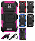 Alcatel OneTouch Elevate Hybrid Combo Holster KICKSTAND Rubber Case Phone Cover