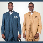 Statement Chalk-stripe Super 150's Suit w/ Double Breast Vest Camel, Teal $799