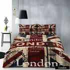 London Red Retro Home Vintage Quilt Cover Set - SINGLE DOUBLE QUEEN KING