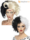 Ladies Black White Wig Dalmatian Cruella Deville Womens Halloween Fancy Dress