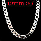 """Fashion Cool 925Sterling Silver 12MM Flat Sideway Strong Men Necklace 20""""-24"""""""