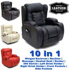 CAESAR 10 IN 1 WINGED LEATHER RECLINER CHAIR ROCKING MASSAGE SWIVEL HEATED