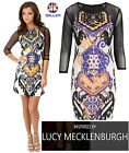 SIZE 8 LUCY MECKLENBURGH AZTEC PRINT BODYCON MINI DRESS MESH LONG SLEEVE PARTY
