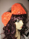 Orange Lace Bow, Sequin Bow, Large Hair Bow 80s Fancy Dress Hair Bow lace/sequin