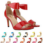 WOMENS LADIES MID LOW HEEL SANDALS PEEP TOE STILETTO SHOES SIZE 2 3 4 5 6 7 8 9