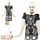 Monochrome Missy 1960s Ladies Fancy Dress 60s Costume Hippy Womens Outfit 8-16