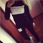 New Women Casual Black Letters Tracksuit Jogging Sport Pullover Hoodie Top+Pants