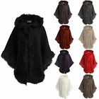 Ladies Womens Luxurious Italian Thick Faux Fur Trimmed Hooded Shawl Poncho Cape