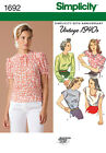 Simplicity Vintage 1940s Misses Sewing Pattern 1692 Retro Tops