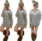 Women Long Sleeve Lace O-neck BLOUSE T Shirt Sweater Tops pullover Top Blouse