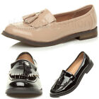 Womens ladies flat low heel casual work fringe tassel loafer pump shoes size