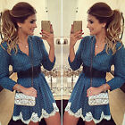 Womens Lace Print Mini Dress Long Sleeve V Neck Evening Party Short Skater Dress