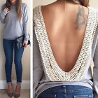 Sexy Backless Summer Fashion Women Casual Long Sleeve Lace Blouse T Shirt Tops